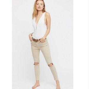 Free People Jeans - NWT Free People Busted Knee Khaki Skinny Jeans